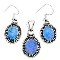 925 silver natural blue doublet opal australian pendant earrings set m62131
