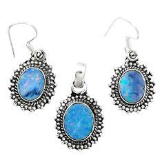 Natural blue doublet opal australian 925 silver pendant earrings set m62132
