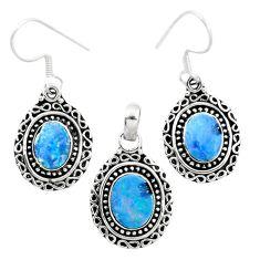 Natural blue doublet opal australian 925 silver pendant earrings set m62133