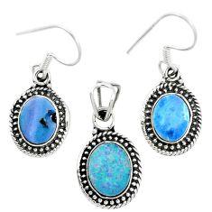 Natural blue doublet opal australian 925 silver pendant earrings set m62134