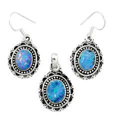 Natural blue doublet opal australian 925 silver pendant earrings set m62135