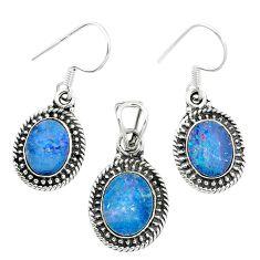Natural blue doublet opal australian 925 silver pendant earrings set m62136