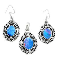 925 silver natural blue doublet opal australian pendant earrings set m62137