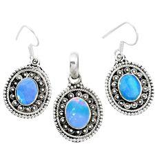Natural blue doublet opal australian 925 silver pendant earrings set m62138