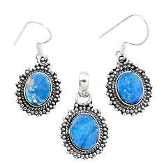Natural blue doublet opal australian 925 silver pendant earrings set m62139