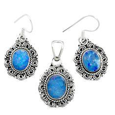 Natural blue doublet opal australian 925 silver pendant earrings set m62140