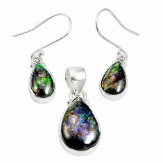 Natural multi color ammolite (canadian) 925 silver pendant earrings set m63341