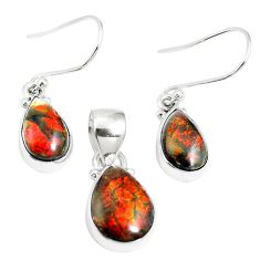 Natural multi color ammolite (canadian) 925 silver pendant earrings set m63342