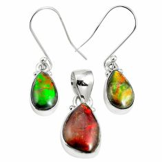 Natural multi color ammolite (canadian) 925 silver pendant earrings set m63343