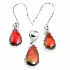 925 silver natural multi color ammolite (canadian) pendant earrings set m63344
