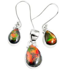Natural multi color ammolite (canadian) 925 silver pendant earrings set m63345