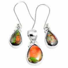 Natural multi color ammolite (canadian) 925 silver pendant earrings set m63346