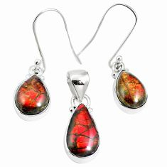 Natural multi color ammolite (canadian) 925 silver pendant earrings set m63347