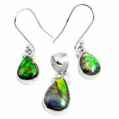 Natural multi color ammolite (canadian) 925 silver pendant earrings set m63348