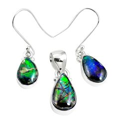 Natural multi color ammolite (canadian) 925 silver pendant earrings set m63351
