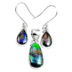 925 silver natural multi color ammolite (canadian) pendant earrings set m63352