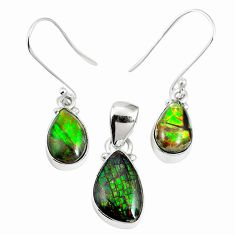 Natural multi color ammolite (canadian) 925 silver pendant earrings set m63353