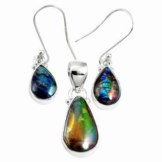 Natural multi color ammolite (canadian) 925 silver pendant earrings set m63354