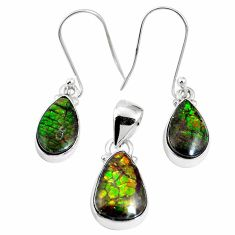925 silver natural multi color ammolite (canadian) pendant earrings set m63355