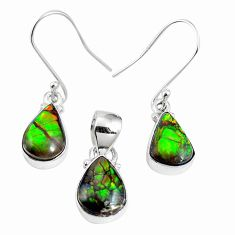 Natural multi color ammolite (canadian) 925 silver pendant earrings set m63356