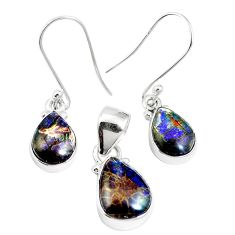 Natural multi color ammolite (canadian) 925 silver pendant earrings set m63357