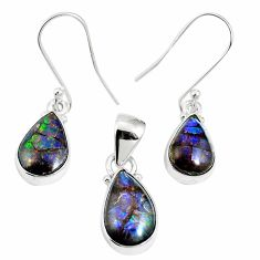 Natural multi color ammolite (canadian) 925 silver pendant earrings set m63358