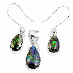 925 silver natural multi color ammolite (canadian) pendant earrings set m63359