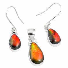 Natural multi color ammolite (canadian) 925 silver pendant earrings set m63360