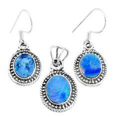 Natural blue doublet opal australian 925 silver pendant earrings set m78601