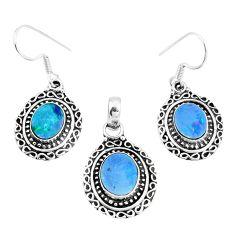 Natural blue doublet opal australian 925 silver pendant earrings set m78602