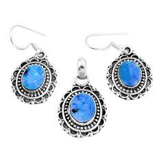 Natural blue doublet opal australian 925 silver pendant earrings set m78603