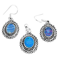 Natural blue doublet opal australian 925 silver pendant earrings set m78604