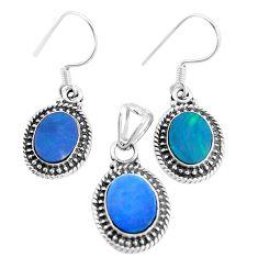 925 silver natural blue doublet opal australian pendant earrings set m78605