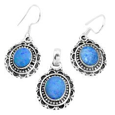 Natural blue doublet opal australian 925 silver pendant earrings set m78606