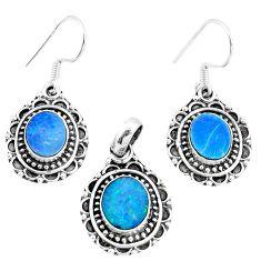 Natural blue doublet opal australian 925 silver pendant earrings set m78607
