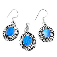 Natural blue doublet opal australian 925 silver pendant earrings set m78608
