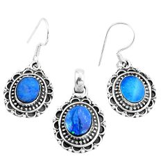Natural blue doublet opal australian 925 silver pendant earrings set m78609