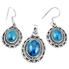 Natural blue apatite (madagascar) 925 silver pendant earrings set m78610