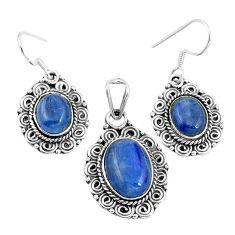 925 sterling silver natural blue kyanite oval pendant earrings set m78611