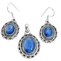 Natural blue kyanite 925 sterling silver pendant earrings set m78612