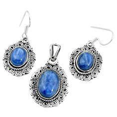 Natural blue doublet opal australian 925 silver pendant earrings set m78615