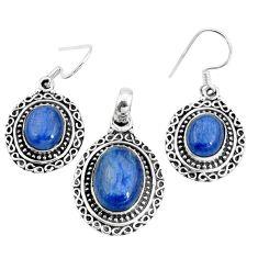 Natural blue doublet opal australian 925 silver pendant earrings set m78616