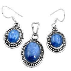 925 silver natural blue doublet opal australian pendant earrings set m78619