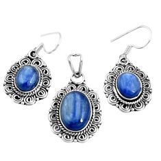 Natural blue doublet opal australian 925 silver pendant earrings set m78620