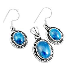14.43cts natural apatite (madagascar) 925 silver pendant earrings set m91703