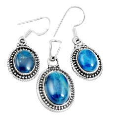 14.22cts natural apatite (madagascar) 925 silver pendant earrings set m91704
