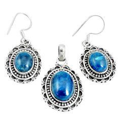 17.42cts natural blue apatite (madagascar) silver pendant earrings set m91707