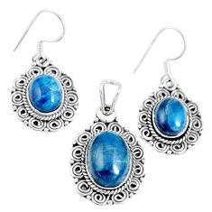 17.63cts natural blue apatite (madagascar) silver pendant earrings set m91708