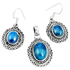 17.09cts natural apatite (madagascar) 925 silver pendant earrings set m91710