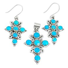 14.36cts sleeping beauty turquoise 925 silver cross pendant earrings set m91716